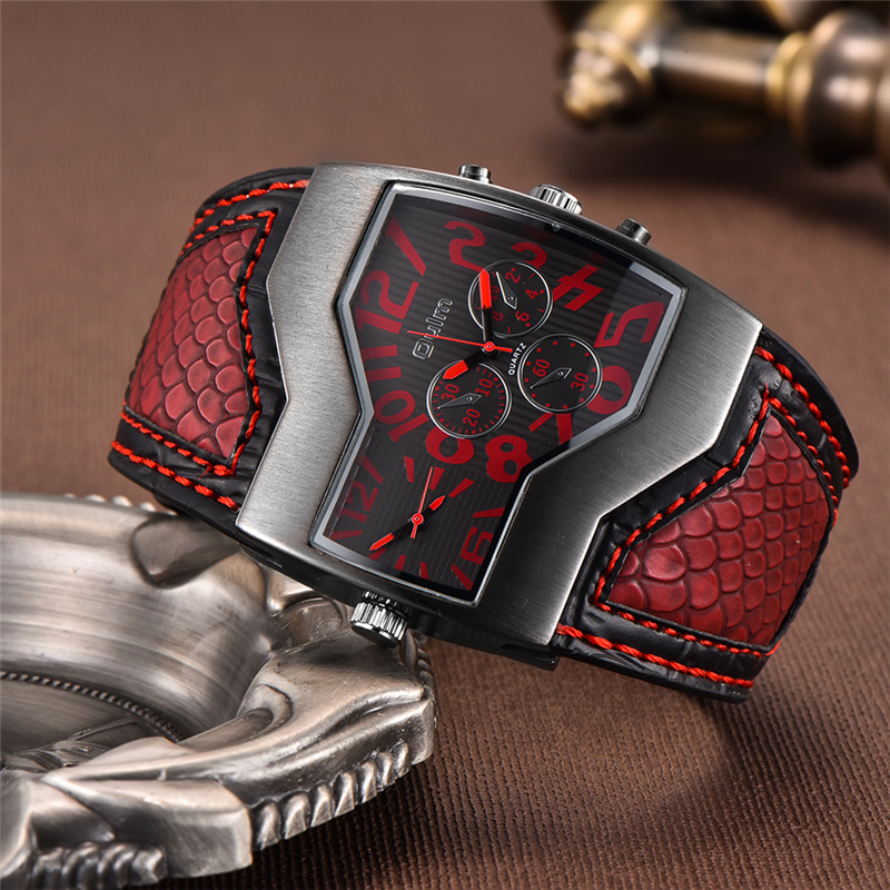 Oulm Luxus Marke Herrenuhren Zwei Zeitzone Quarzuhr breite PU Strap 6 Farben Mode Männlichen Armbanduhr Casual Mann stunden