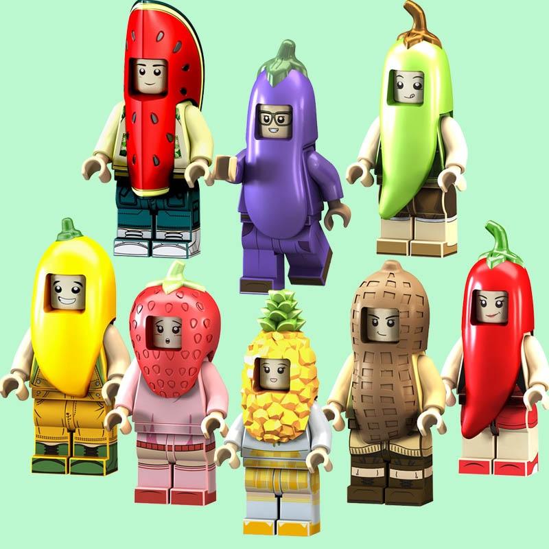 Blocks Pg1228 Building Blocks Super Heroes Peanut Watermelon Pineapple Mango Fruit Vegetables Series Bricks Doll For Children Toys Gift Toys & Hobbies