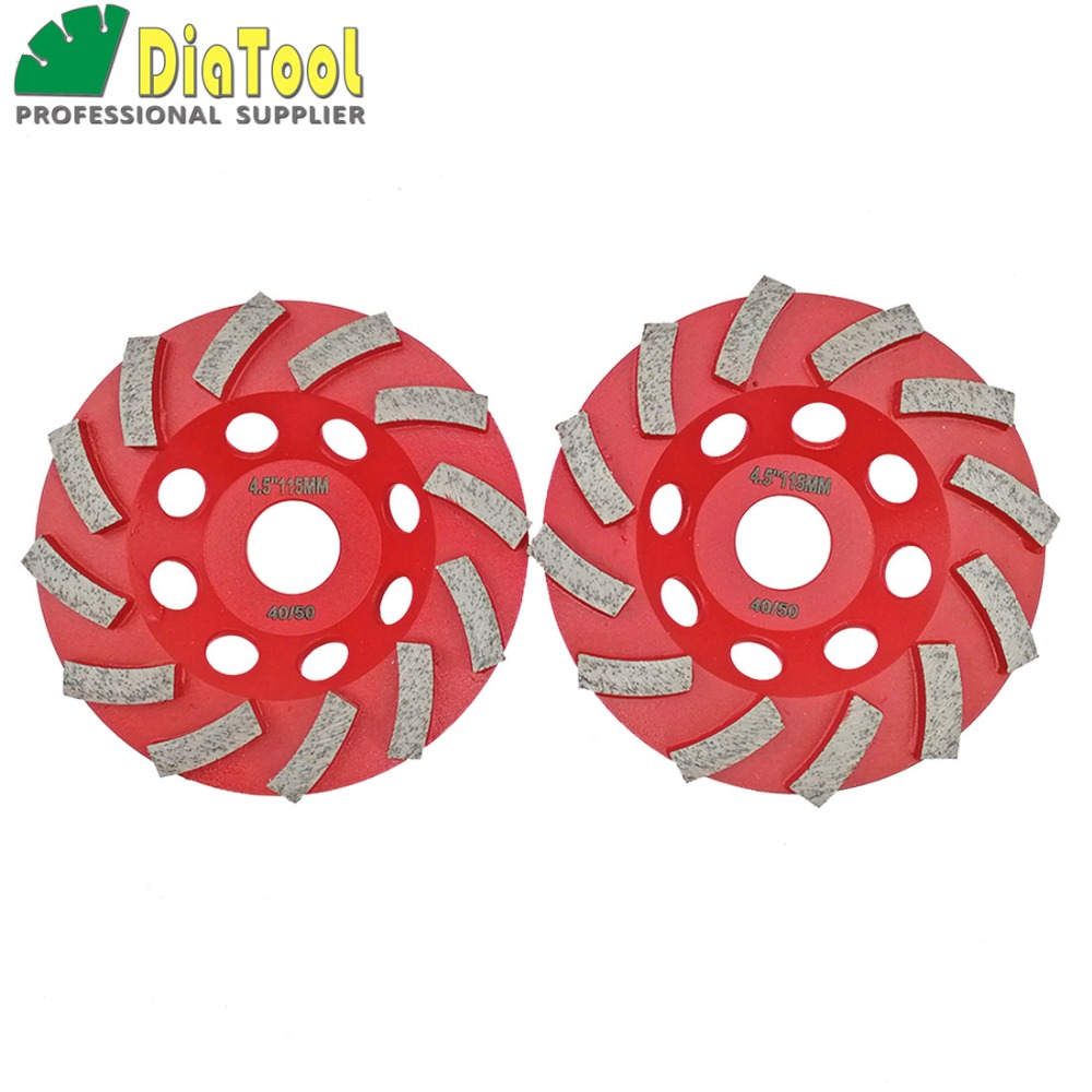 цена на DIATOOL 2pcs Diameter 4.5 (115mm) Diamond Grinding Cup Wheel For Concrete Grinding Disc Segmented Turbo Type Sanding Disc Wheel