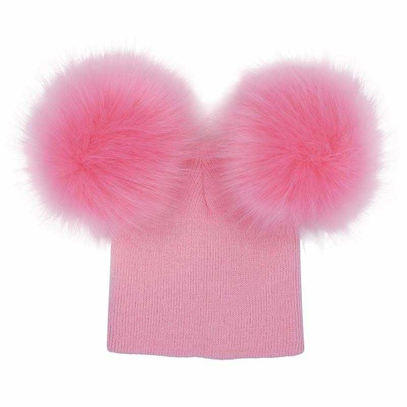 Зимняя детская вязаная шапка из искусственного меха, 2 плюшевых шара для маленьких девочек, вязаная Шапочка, Детский Теплый колпак с помпонами, KNG88