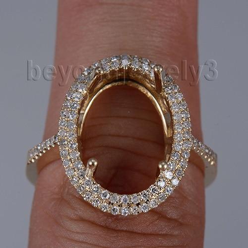 Oval 10x14mm 14K Semi Mount Ring Settings Yellow Gold Woman Wedding R0014
