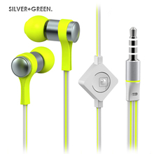 Wallytech WHF-118 High Quality Flat Cable Stereo in-ear Metal Earphones For iPhone 5 6 With Microphone & On/Off Remote 6 Colors
