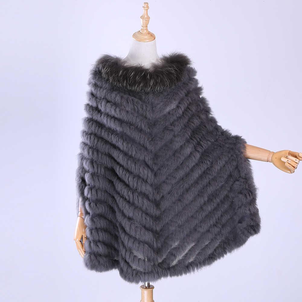 2020 yeni kadın lüks kazak örme orijinal tavşan kürk rakun kürk panço pelerin eşarp örme sarar şal üçgen ceket