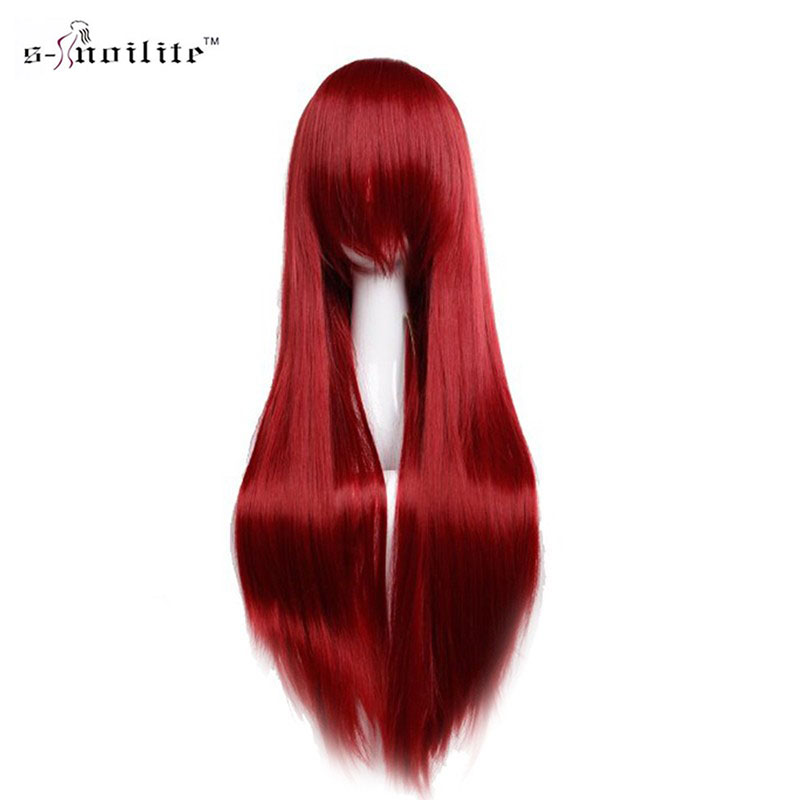 SNOILITE 80cm Long Synthetic Hair Wig For Women Heat Resistant Fiber Hairpiece Pink Red Purple Straight Cosplay Wigs