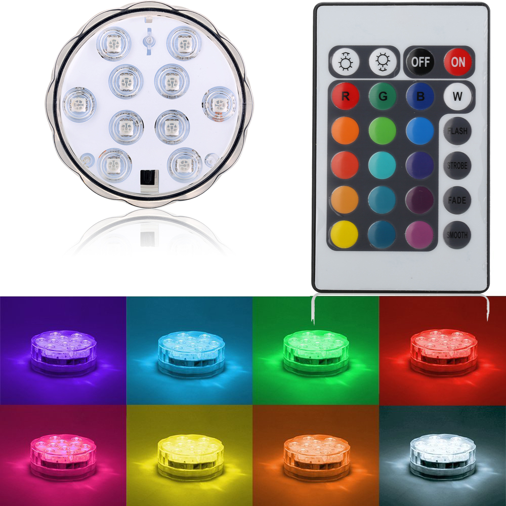 1Pc/lot RGB 10LED Submersible Light Battery Operated IP68 Waterproof Underwater Swimming Pool Wedding Party Piscina Pond Lights