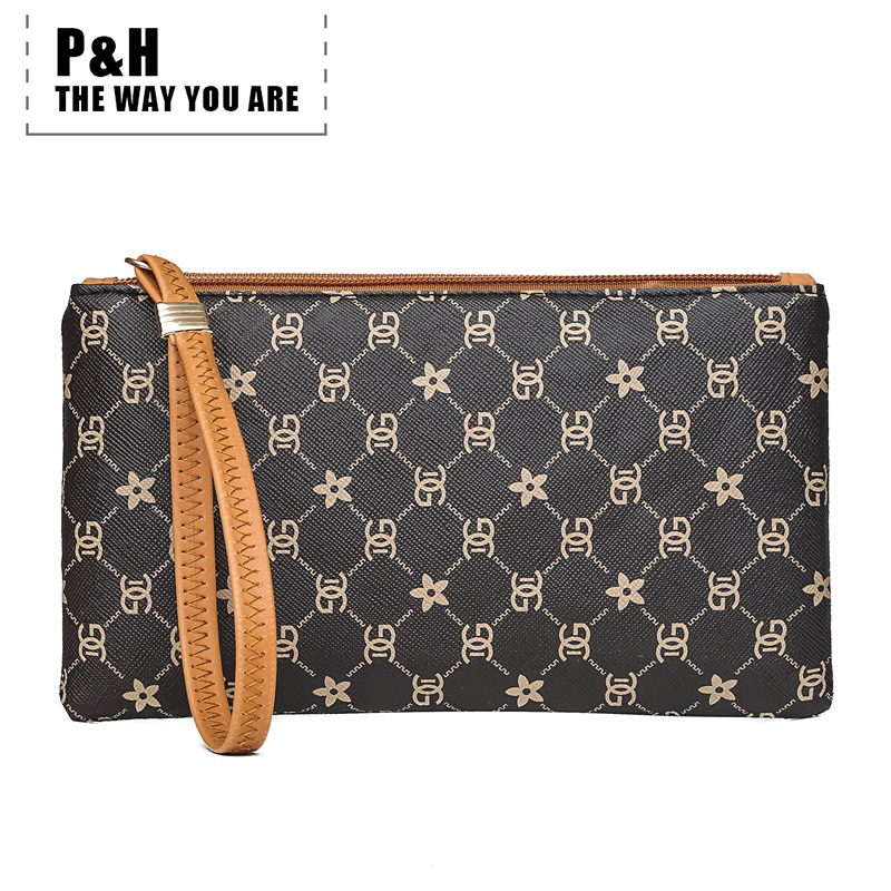 Pat&hap Pu Leather Womens Wallets And Purses Fashion Patchwork Women Coin Purse Hand Strap Clutch Money Bag Phone Holder Wallet