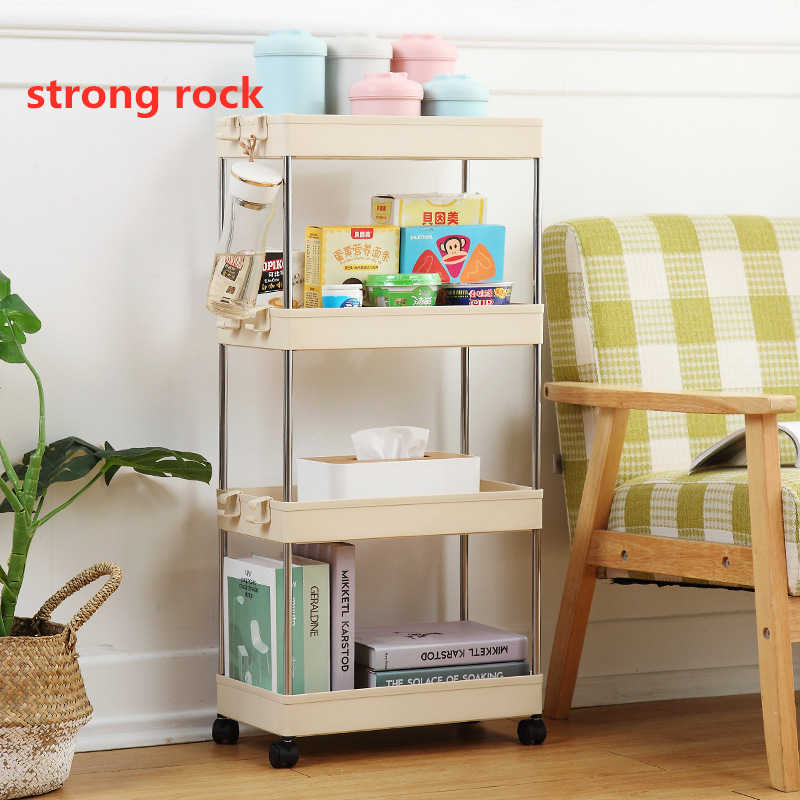 Slide Out Slim Trolley Rack 4 Tier Narrow Space Shelving Rolling Pantry Shelves Holder Storage Organizer Shelf on Wheels Kitchen