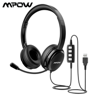Original Mpow HC2 3.5mm Headset USB Plug Wired Headphones Earphone With Micophone Computer Earbud For Call Center Chatting Skype
