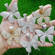 Bronze cz borboleta pingentes & colar cor ouro prata cor cz tênis corrente cn111a