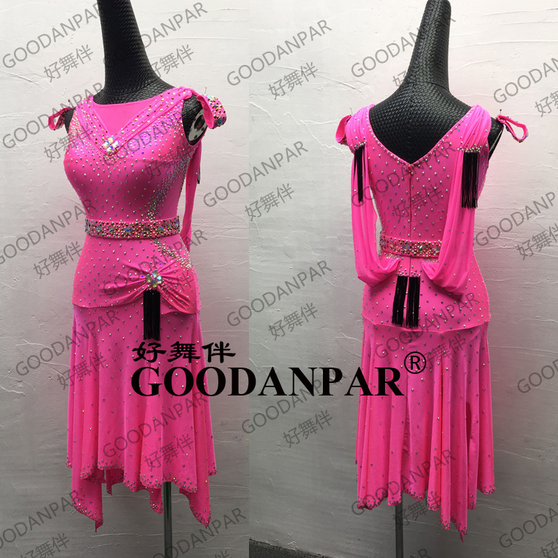 Latin Dance Dress Rumba Sexy Chacha Dance Wear New Latin Dress Tango Salsa  Samba Sleeveless Rose Red Ballroom Dance Dress