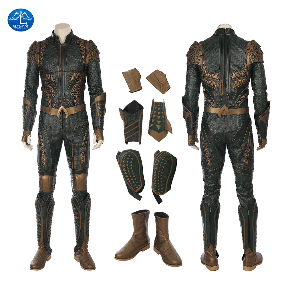 ManLuYunXiao Justice League Aquaman Costume Orin Arthur Curry Costume Hallloween Carnival Cosplay Costume For Men Custom Made