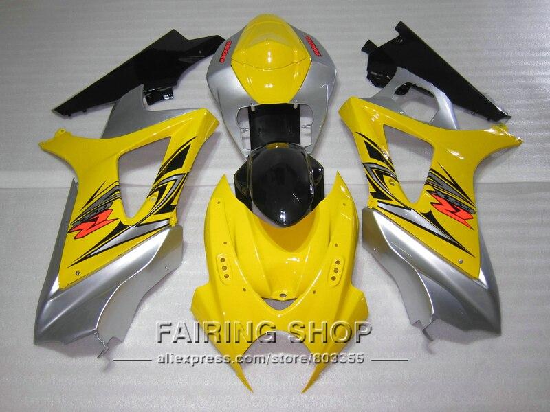 Injection molded fairings for Suzuki GSXR1000 K5 K6 2005 2006 yellow silver black fairing kit GSXR 1000 05 06 VN104