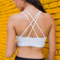 Free Shipping Women Yoga Bra Inset Padding Sports Training Running Tank Tops Size S L