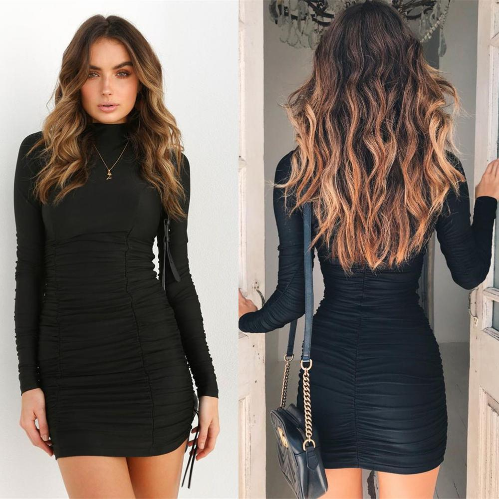 long sleeve high neck high waist <font><b>bodycon</b></font> <font><b>sexy</b></font> mini dress <font><b>2018</b></font> <font><b>autumn</b></font> winter <font><b>women</b></font> <font><b>fashion</b></font> party <font><b>elegant</b></font> dresses image