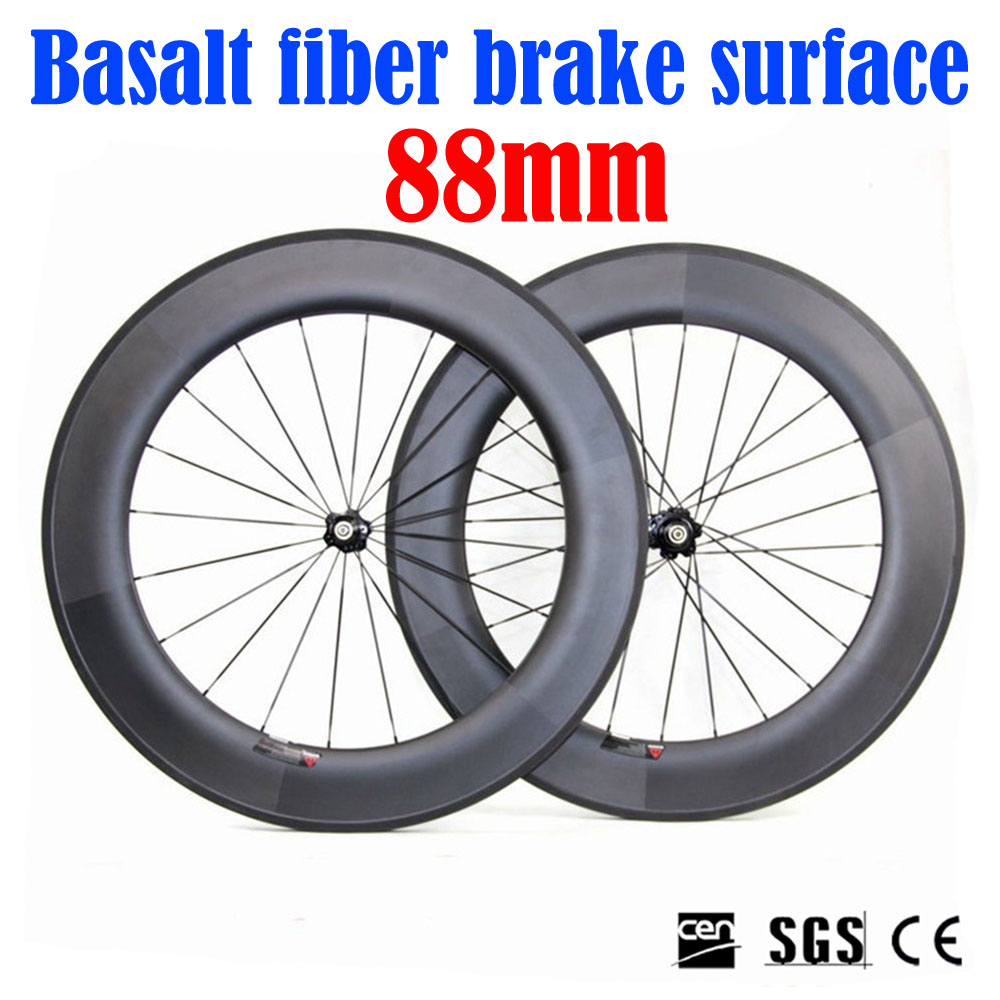UD Matte Full Carbon Wheel Road Bike 700*23c 88mm Depth Clincher Tubular Bicycle Wheelset with NOVATEC271,372 Bicycle Hubs west biking bike chain wheel 39 53t bicycle crank 170 175mm fit speed 9 mtb road bike cycling bicycle crank