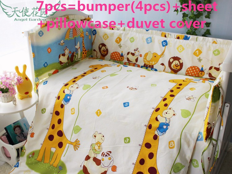 Promotion! 6/7PCS baby bedding set baby cot jogo de cama girls bedclothes pillowcase duvet cover , 120*60/120*70cm джемпер love