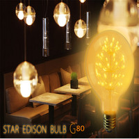 ST64 G80 Amazing Beautiful Stars Edison Retro Decorative Light Bubble Ball Bulb E27 AC220V 3W Yellow