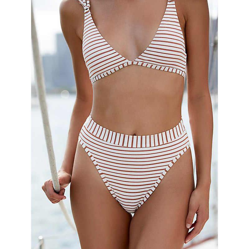 8b9c78e5ea Stripped Bikinis 2019 Mujer Women Swimsuit High Waist Bikini Set Two Pieces  Swimming Suit For Women Bathing Suit Female Swimwear