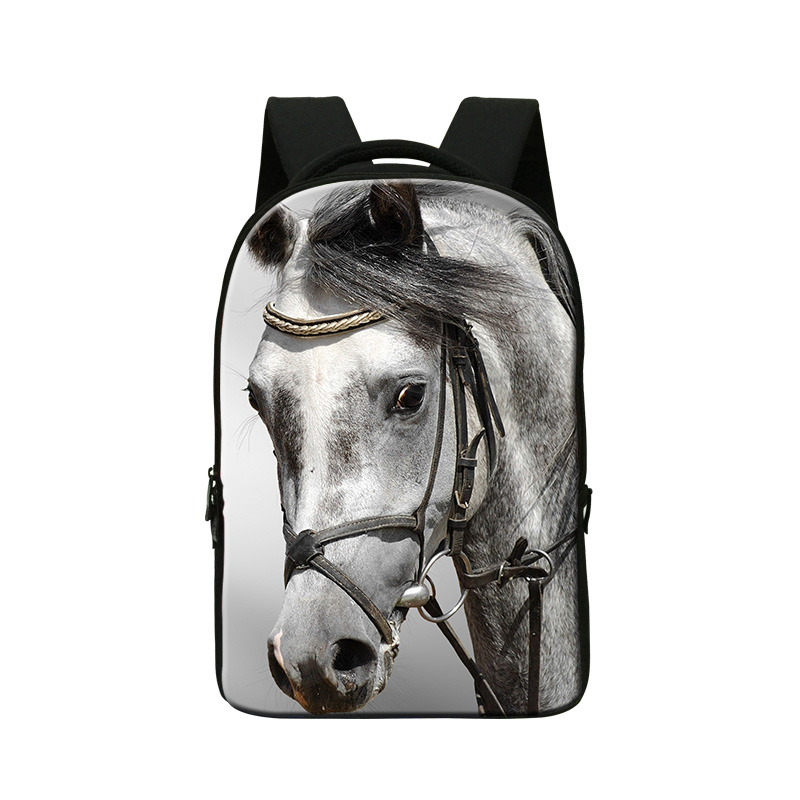 ФОТО Plush Horse 3D Pattern School Backpacks for High Class Students,Bookbags with Computer Compartment for College,Boys School bags