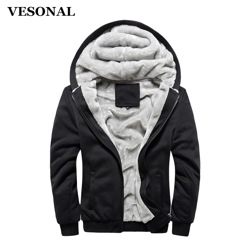 VESONAL Autumn Winter Thick Velvet Men Hoodie Sweatshirt Men Streetwear Male Jacket Mens Moletom Tracksuit Hooded Coat Moleton