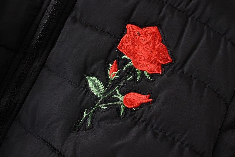 2019 зимняя куртка с хлопковой подкладкой, большие размеры 3XL 4XL, Женская куртка с цветочными нашивками, Женское зимнее пальто 5XL, Женская куртка бомбер, парки - 3