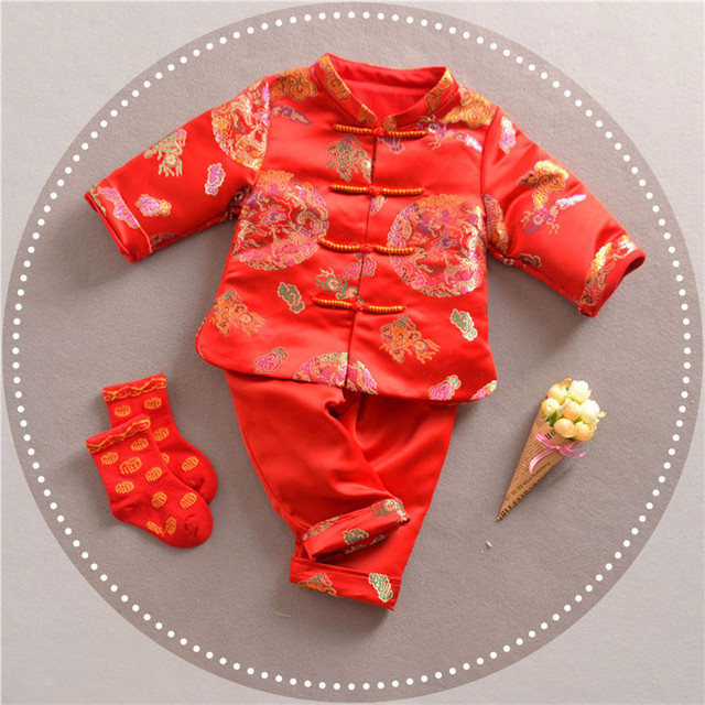 7eb8c2a83 Chinese Style Traditional Winter Boy Clothing Child Tang Suit For New Year  Baby Boy Clothes 2018