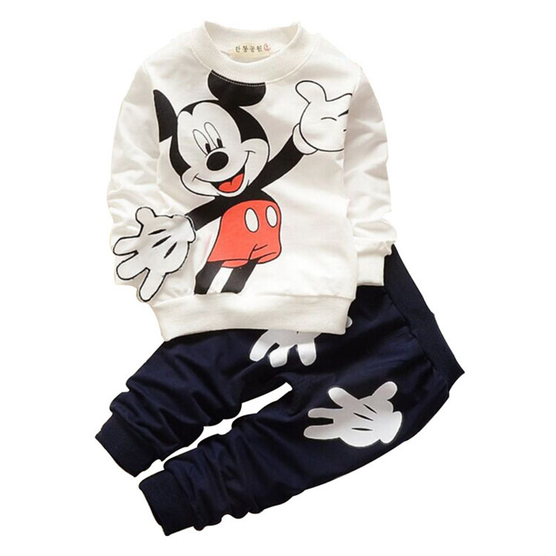 цены 2017 New Spring Autumn 2pcs Kid Clothes Cartoon Cotton T-shirt and Pants Trousers Set Toddler Children Boy Girl Sports Tracksuit