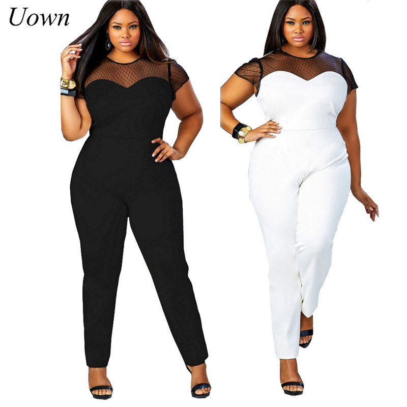 2017 Womens Plus Size Jumpsuits Summer Casual Overalls Rompers Mesh Patchwork Bodycon Playsuits Long Pant Ladies Bodysuits 4XL