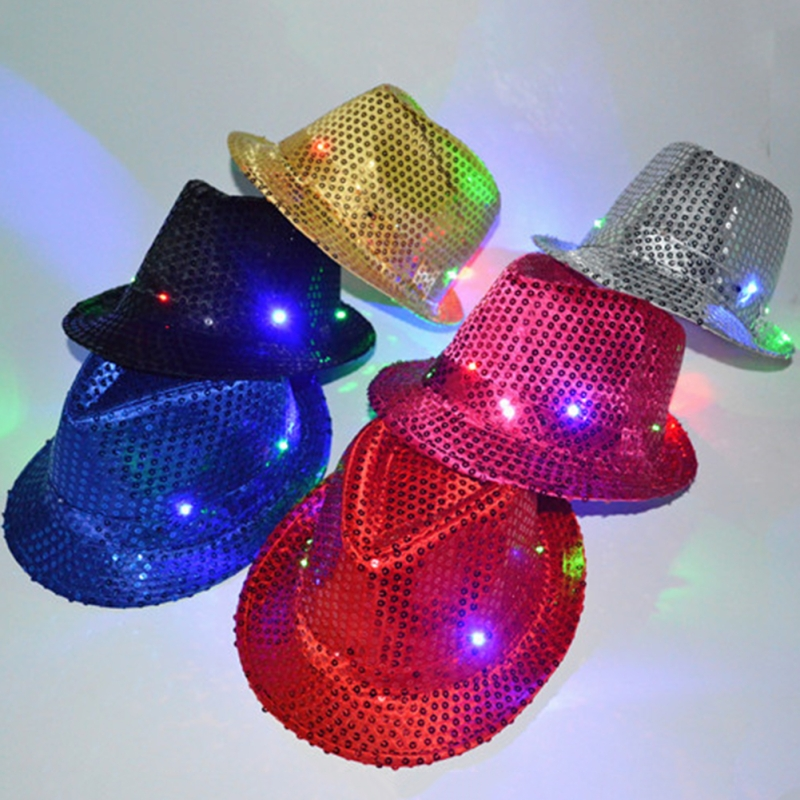 Flashing Light Up Led Sequin Unisex Fancy Dress Dance Party Hat