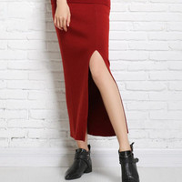 New Autumn And Winter Split Skirt Solid Color Long Knit Skirt Women