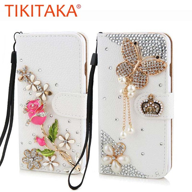 outlet store f4ab1 c0fc0 US $3.57 10% OFF|Luxury Bling Wallet Flip case For Samsung Galaxy S7 S6  Edge Plus Note 5 Cover Crystal Rose flower Hand made Case For Samsung S3  -in ...