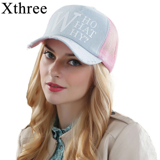 ac1df36c0f Xthree feminino verão mulher bonés de beisebol chapéu cap malha denim  casquette snapback osso chapéus para