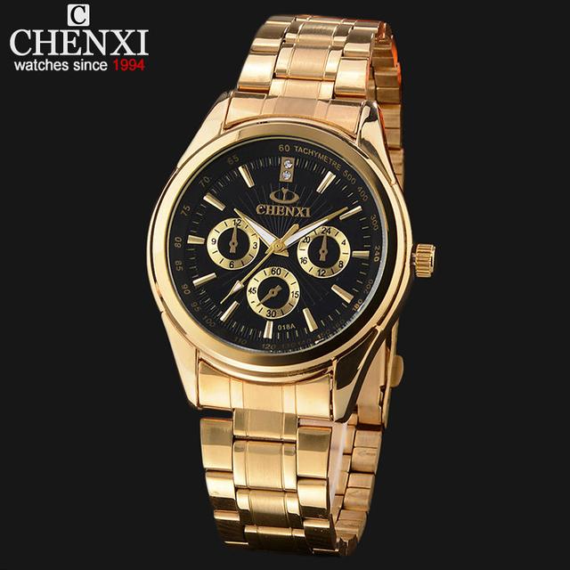 Relógios de ouro homens moda Casual relógio de pulso À Prova D' Água Negócio relógio de ouro de luxo inoxidável completa Relogio masculino quartzo-relógio