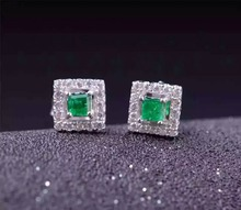 natural green emerald earrings 925 silver Natural gemstone earring women classic elegant square fine earrings for anniversary