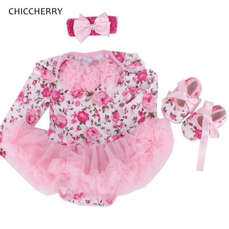 Newborn Baby Girl Floral Tutu Sets Pink Lace Baby Rompers Crib Shoes Headband Girls 3 Piece Outfits New Born Baby Clothes Gift