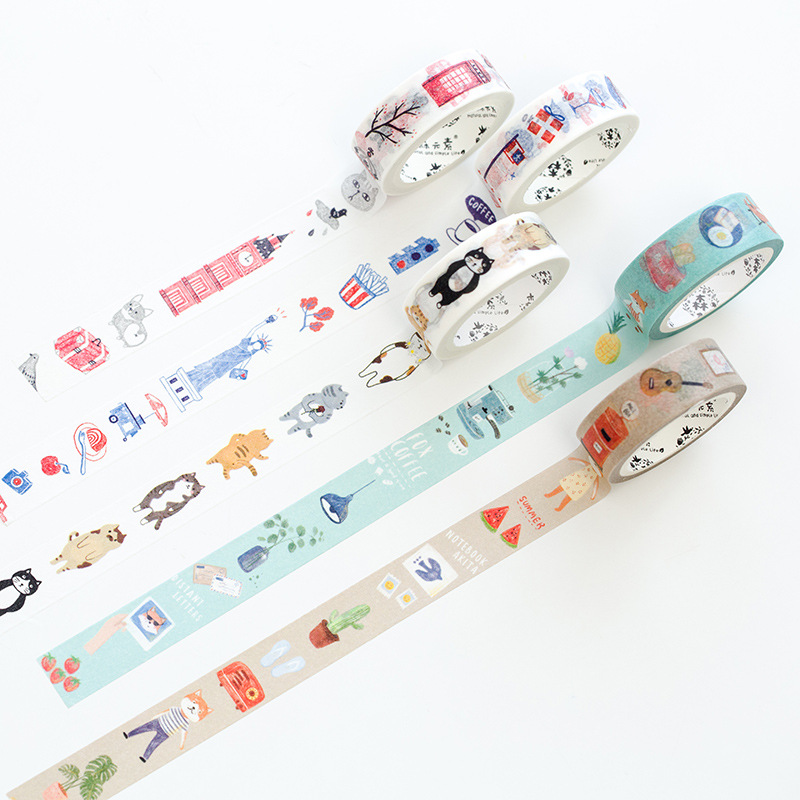 Cute paper washi tape set Kawaii cat Travel city London Tokyo masking sticker Decoration stationery School tools supplies F787