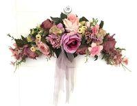 Purple Rose Puerta adintelada Espejo guirnalda De Flores corona de flores Artificiales flor de la boda de Fondo de los apoyos Envío libre