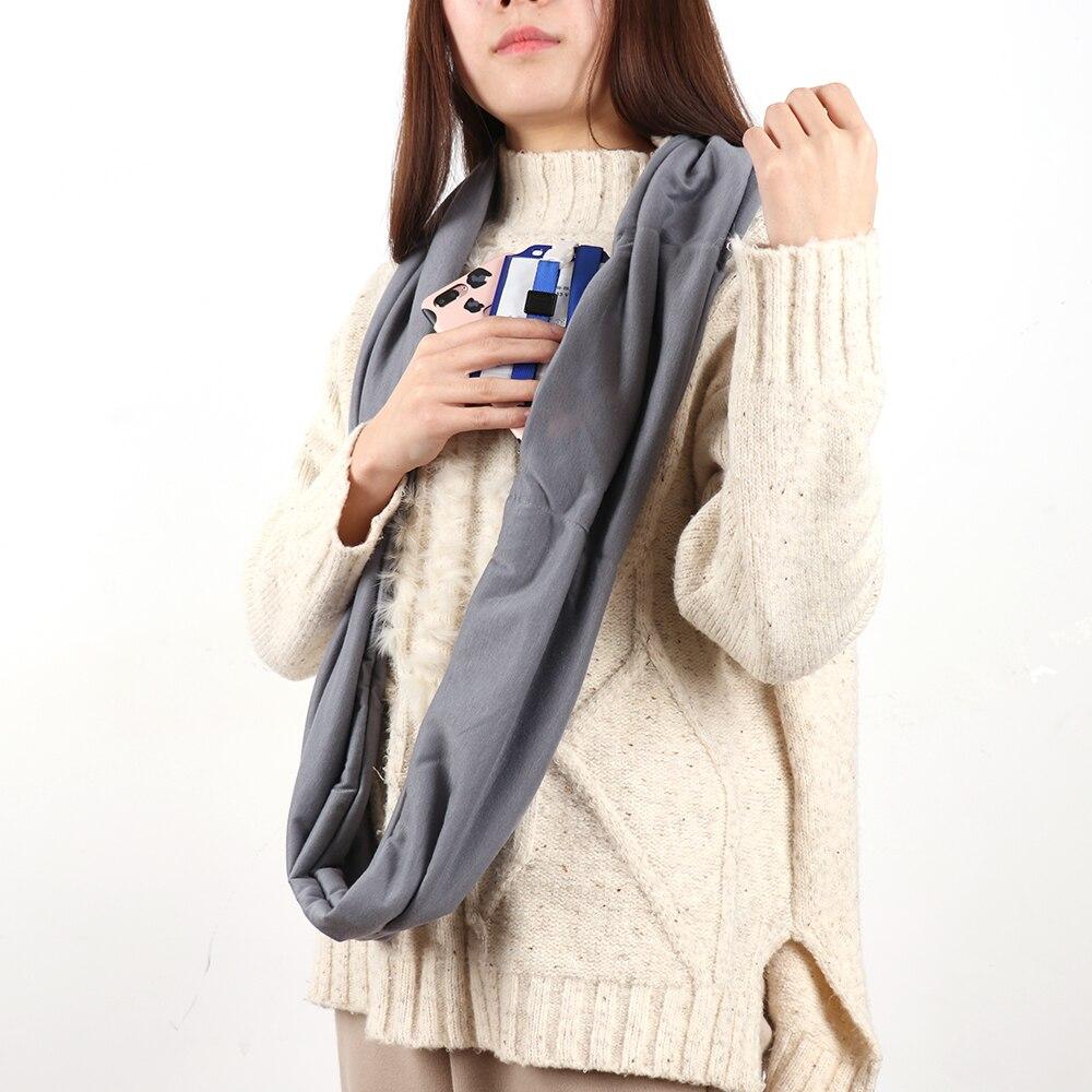 Lenços de outono Inverno Bolso Cachecol Laço Infinito Quente Cachecol Todo o Jogo Sólido Macio Para As Mulheres Homens Anel Cachecóis Fashion Style