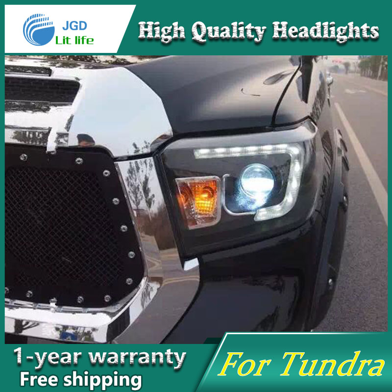 high quality Car Styling for Toyota Tundra 2014 Headlights LED Headlight DRL Lens Double Beam HID Xenon Car Accessories hireno headlamp for 2016 hyundai elantra headlight assembly led drl angel lens double beam hid xenon 2pcs