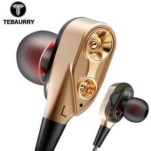 Tebaurry unidade dupla unidade de unidade no ouvido fone baixo subwoofer fone para o telefone dj mp3 esporte fones fone auriculares