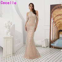 2019 New Blushing Beaded Mermaid Women Luxury Evening Dresses Sleeveless Sexy Illusion Back Social Occasion Gowns Elegant