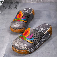 2017 New Folk Style Head Layer Cowhide Pure Handmade Carved Shoes The Retro Art Mori Girl