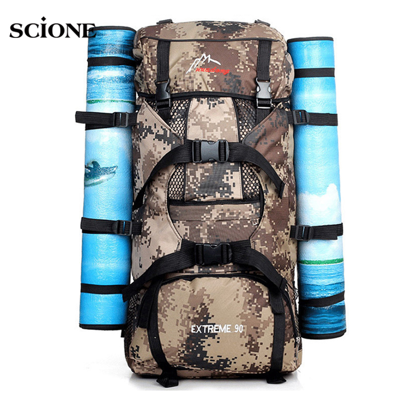 90L Big Load Knapsack Men Outdoor Camouflage Nylon Sports Backpack for Hiking Camping Mountain Climbing Fishing Rucksack XA574YL