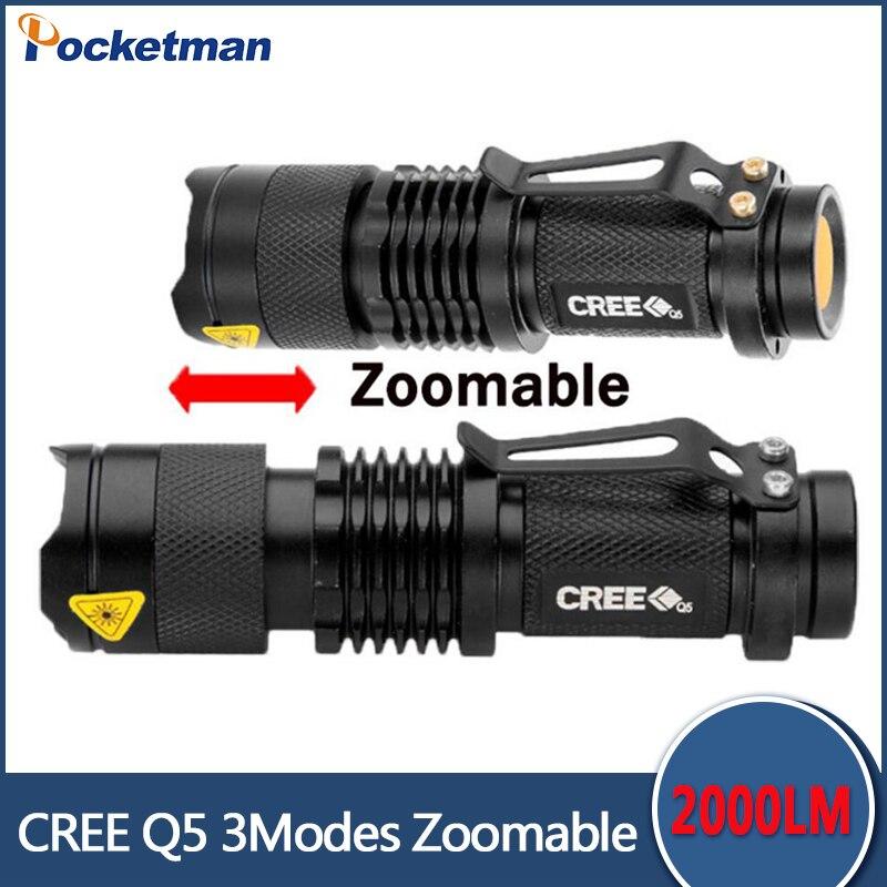 Zk90 gratis verzending Mini zwart 2000LM LED zaklamp 3 standen - Draagbare verlichting