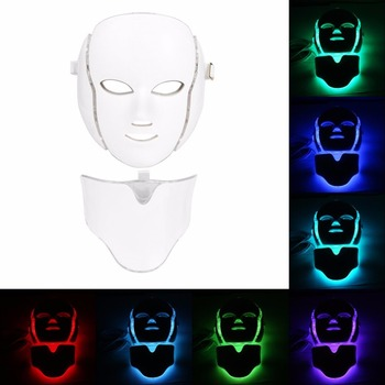 LED 7Colors Light Microcurrent Facial Mask Machine Photon Therapy Skin Rejuvenation Facial Neck Mask Whitening Electric Device Facial Steamer