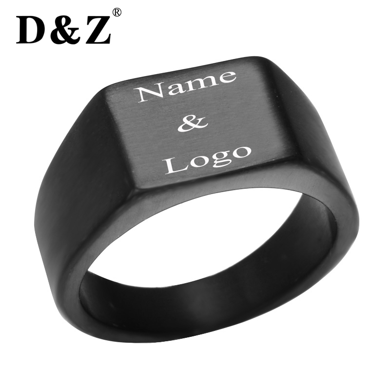 D&Z Pinky Ring Rectangle Blank Custom Stainless Steel Band Big Rings God Color Signet Polished Biker Bague Party Jewelry Anillos