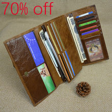 a2cdb24f36 Promotion Multifunction Men Genuine Leather Wallet Fashion Cow Leather Long  Clutch Purse Big Zip Around Coin