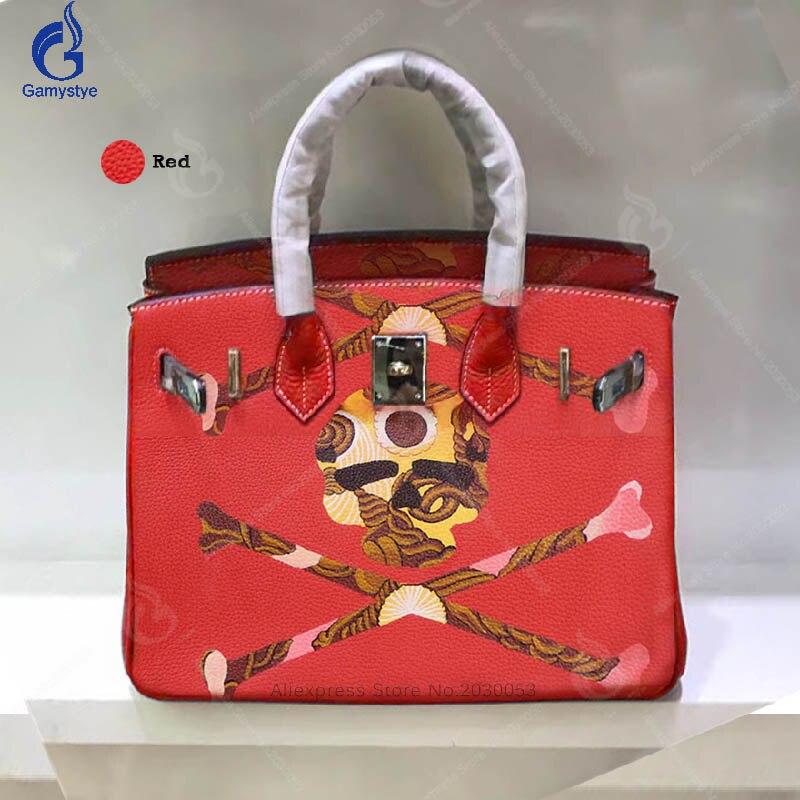 Gamystye для женщин сумки из коровьей кожи красный кошельки и сумки граффити рок череп повседневное Мужская тотализаторов Того Кожа Аппаратные