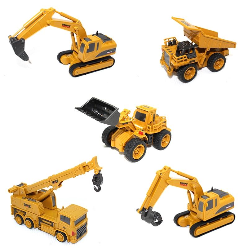 RC Trucks 1:64 Remote Control Construction Car Mini Excavator Simulation Model Engineering Car Digger Toy Crane Bulldozer