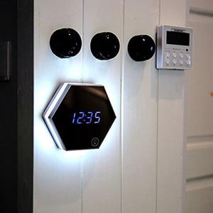 Image 2 - USB לילה אור עם חיישן מגע שעון מעורר בקוקימבו הלילה מנורה עם מראה שטוח רב תכליתי נבנה בסוללה נטענת